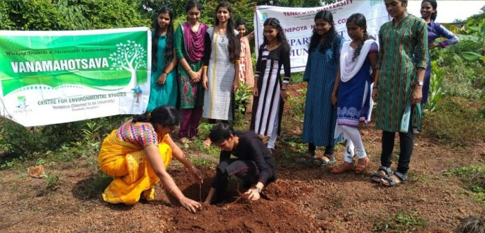 Saplings were planted under the guidance of the Centre for Environmental Studies of Yenepoya (Deemed to be) University, Mangaluru.