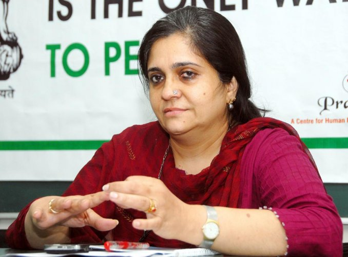 Criminal cases of alleged embezzlement of funds and violations of Foreign Contribution Regulation Act (FCRA) have been lodged against Setalvad and her husband by the Gujarat Police and the CBI respectively (DH Photo/Dhaval Bharwad)
