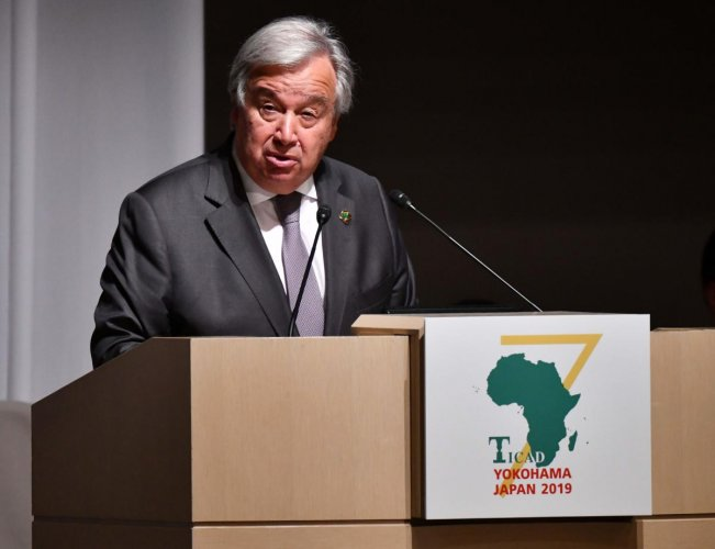 United Nation Secretary-General Antonio Guterres delivers his speech during the opening and session one of the Tokyo International Conference on African Development (TICAD) in Yokohama. AFP photo
