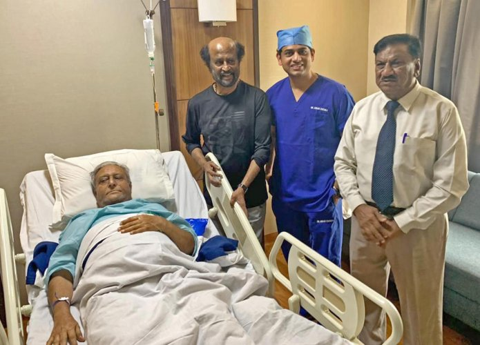 Super Star Rajinikanth visits his brother at Apollo Hospitals Sheshadripuram. Sathyanarayana Rao Gaikwad, 77 years of age, brother of actor Rajinikanth was presented with severe osteoarthritis in the knee. He underwent a bilateral knee replacement surgery