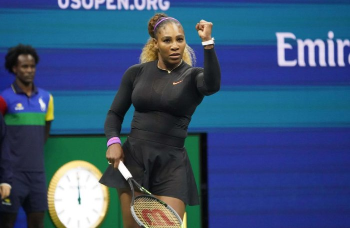 Serena Williams of the US celebrates her victory against Caty McNally of the US during Round Two Women's Singles match of the 2019 US Open at the USTA Billie Jean King National Tennis Center in New York on August 28, 2019. (AFP)