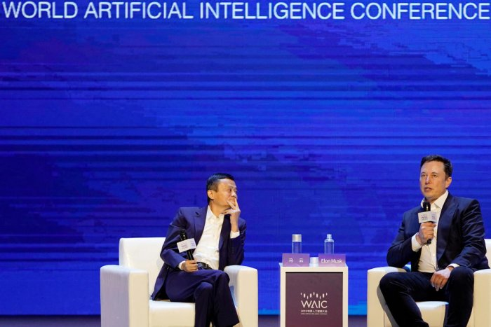 Tesla Inc CEO Musk and Alibaba Group Holding Ltd Executive Chairman Ma attend the World Artificial Intelligence Conference in Shanghai. Reuters photo