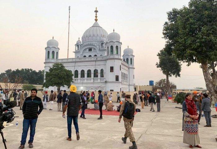 A view of the shrine of Sikh leader Guru Nanak Dev in Kartarpur, Pakistan. Photo/PTI