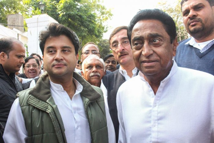 Congress State President Kamal Nath, party leader Jyotiraditya Scindia and other leaders. (PTI Photo)