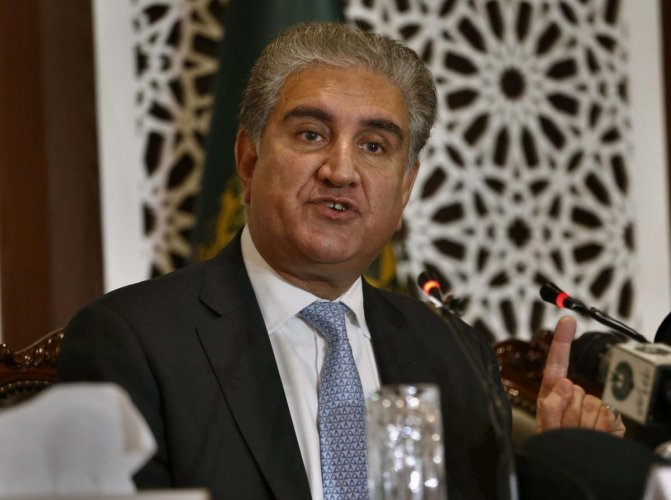 "Qureshi underlined that the ""steps taken by India in Kashmir entailed a grave risk for peace and security in the region"", the Foreign Office said. AP/PTI Photo"