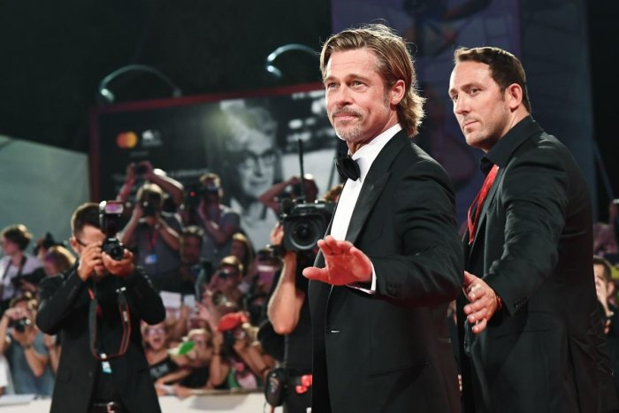 """US actor Brad Pitt arrives on August 29, 2019 for the screening of the film """"Ad Astra"""" during the 76th Venice Film Festival at Venice Lido. Photo/ AFP"""