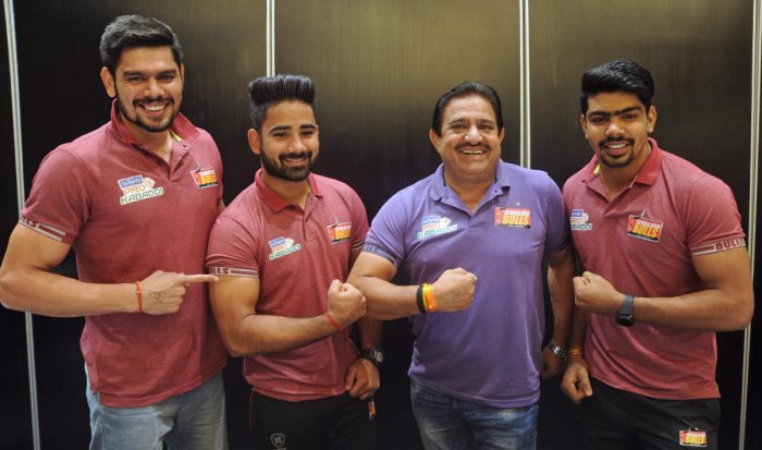 (From left) Bengaluru Bulls' captain Rohit Kumar, Mahender Singh, coach Randhir Singh and Pawan Kumar Sehrawat at a press conference in Bengaluru on Friday. DH Photo