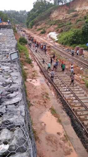 New sleepers were laid on Thursday and the track alignment work in Kulshekara is in final stage. If all goes well, a train would be run on the newly laid track on Saturday morning.