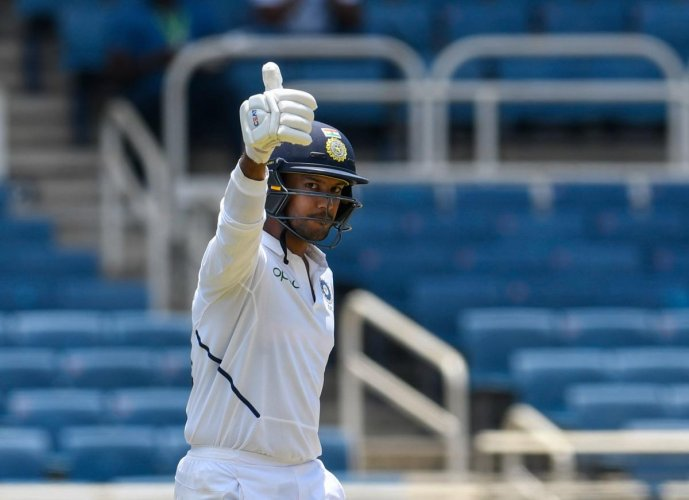 Mayank Agarwal celebrates his half-century during day 1 of the 2nd Test between West Indies and India at Sabina Park, Kingston (AFP Photo)