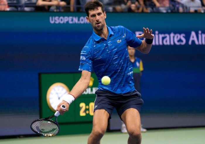 Novak Djokovic of Serbia returns the ball to Denis Kudla of the US during the Round Three Men's Singles match of the 2019 US Open at the USTA Billie Jean King National Tennis Center. AFP