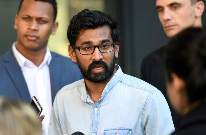 Tamil Refugee Council spokesperson Aran Mylvaganam speaks after a dramatic late-night call from an Australian judge to detain Tamil family. (PTI Photo)