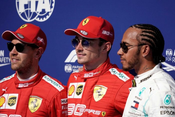 It was a Ferrari lockout on the front row for the Belgian Grand Prix as Charles Leclerc (centre) and Sebastian Vettel (left) got the top two spots. Mercedes driver Lewis Hamilton was third. Picture credit: AFP