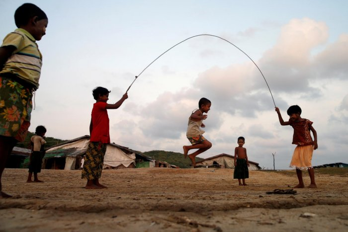 Boys play inside a Rohingya refugee camp outside Kyaukpyu in Rakhine state, Myanmar. (Photo by Reuters)