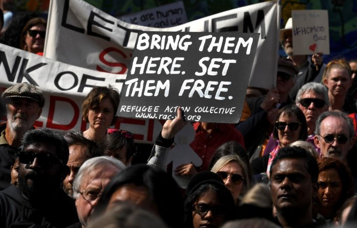 The family -- who are fighting to remain in Australia because they fear persecution in Sri Lanka -- were moved to Christmas Island detention facility, lawyer Carina Ford said, speaking in Melbourne. (Photo by AFP)