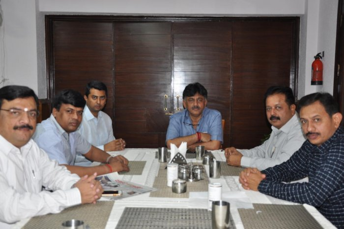 Congress Leaders N Cheluvaraya Swamy, Balakrishna, Narendra Swamy and youth Congress Leaders called on former minister D K Shivakumar at Karnataka Bhavan in New Delhi on Sunday.