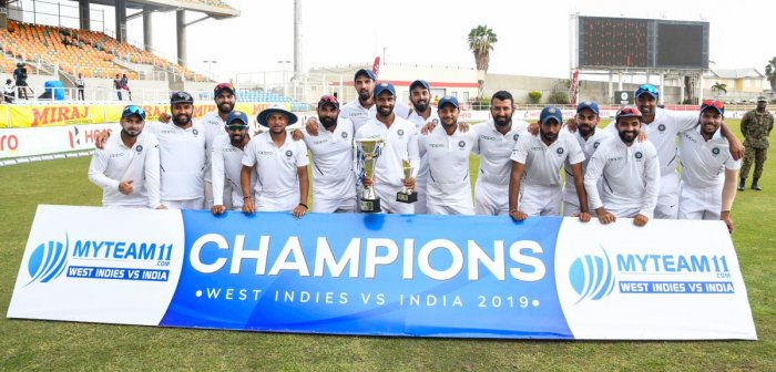 India team with trophy after winning on day 4 of the 2nd and final Test between West Indies and India at Sabina Park, Kingston, Jamaica, on September 2, 2019. (AFP)