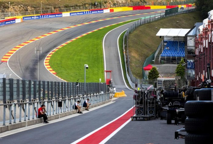 The wreckage being cleared after the Formula 2 racing accident at Spa-Francorchamps. Picture credit: AFP