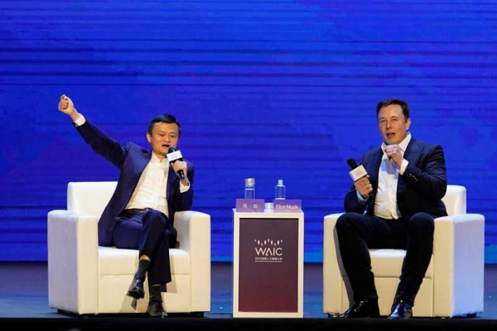 Tesla Inc CEO Elon Musk and Alibaba Group Holding Ltd Executive Chairman Jack Ma attend the World Artificial Intelligence Conference (WAIC) in Shanghai, China. (Reuters File Photo)