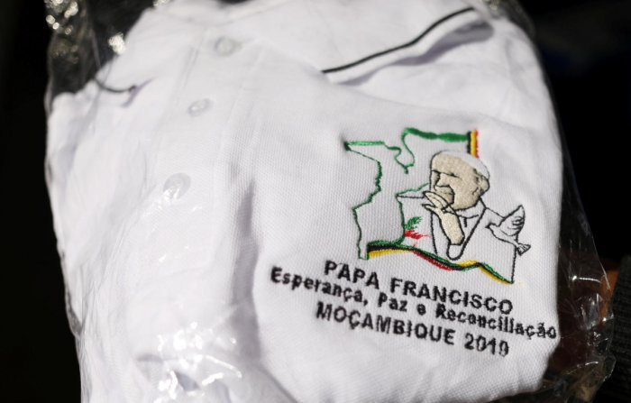 A t-shirt with embroidered image of Pope Francis is pictured at a store in Maputo, Mozambique. (Reuters Photo)
