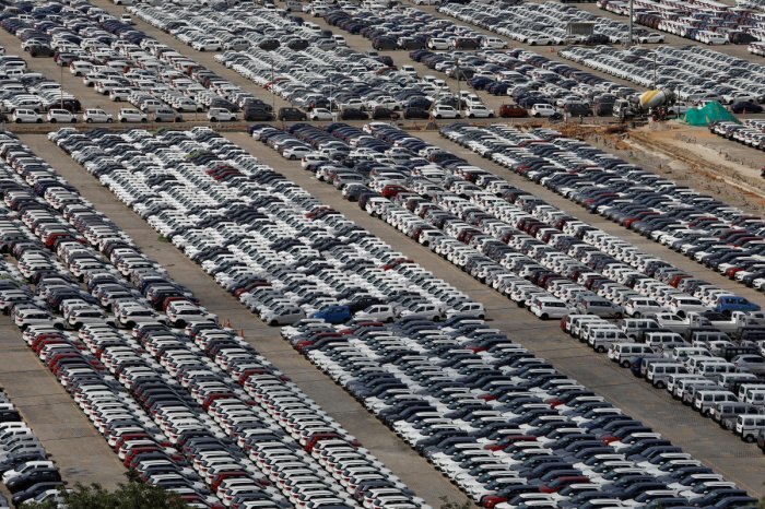Cars are seen parked at Maruti Suzuki's plant at Manesar, in the northern state of Haryana, India. (Photo by Reuters)