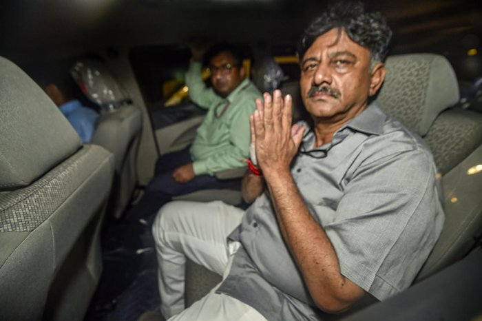 New Delhi: Karnataka Congress leader D K Shivakumar leaves after being produced at Rouse Avenue Court in New Delhi, Wednesday, Sept 4, 2019. Shivakumar, arrested in a money laundering case, was sent to the ED custody till September 13 by the court today.