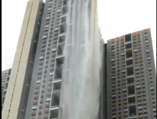 Mumbai rains not behind Cuffe Parade highrise waterfall
