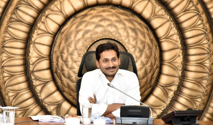 YS Jaganmohan Reddy at the cabinet meeting on Wednesday. (DH Photo)