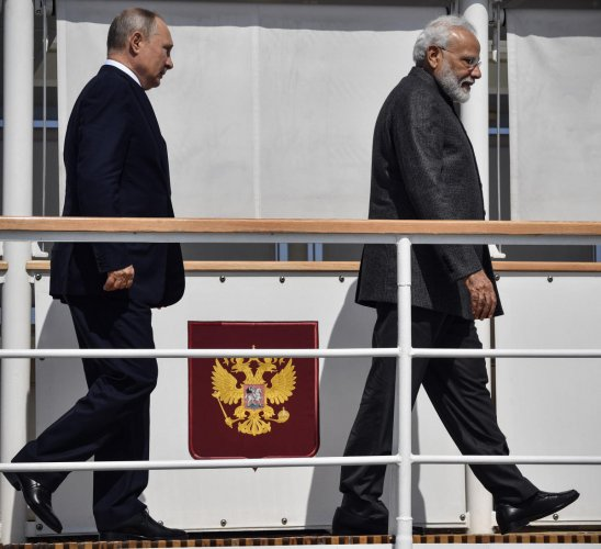 Russian President Vladimir Putin and Indian Prime Minister Narendra Modi visit shipyard Zvezda outside the far-eastern Russian port of Vladivostok on Wednesday, where Eastern Economic Forum hosted by Russia. AP/PTI