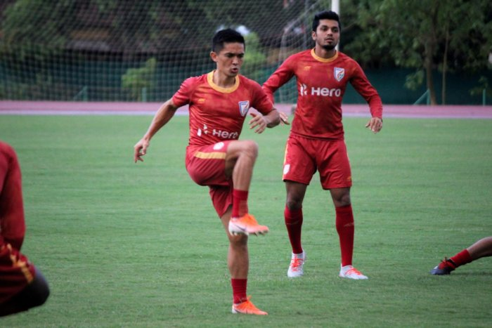 India's ace striker Sunil Chhetri goes through the paces during a training session ahead of their game against Oman in Guwahati. AIFF MEDIA