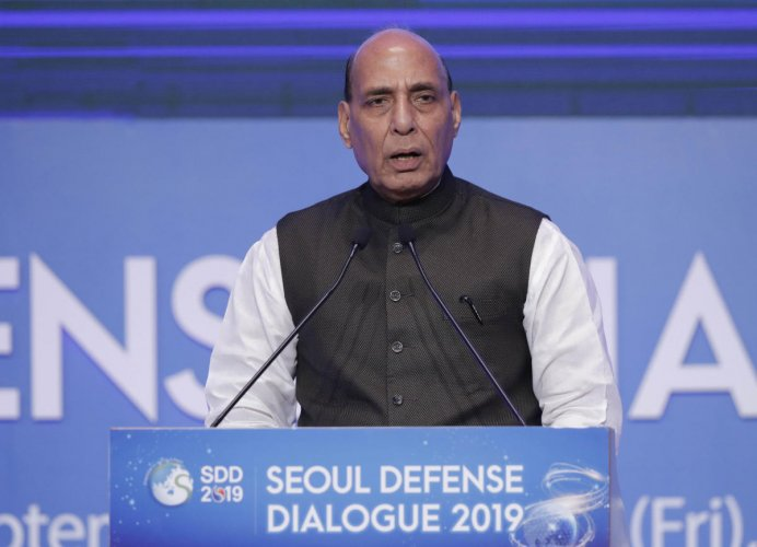 Rajnath Singh delivers a speech during the opening ceremony of the Seoul Defense Dialogue 2019 in Seoul, South Korea. AP/PTI