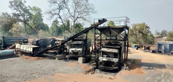 Charred vehicles which were allegedly torched by Maoists at Kurkheda town in Gadchiroli district in Maharashtra on Wednesday. PTI
