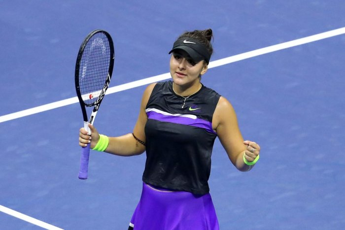 Bianca Andreescu of Canada after winning her Women's Singles semi-final match against Belinda Bencic of Switzerland on day eleven of the 2019 US Open at the USTA Billie Jean King National Tennis Center on September 05, 2019 in the Queens borough of New Yo