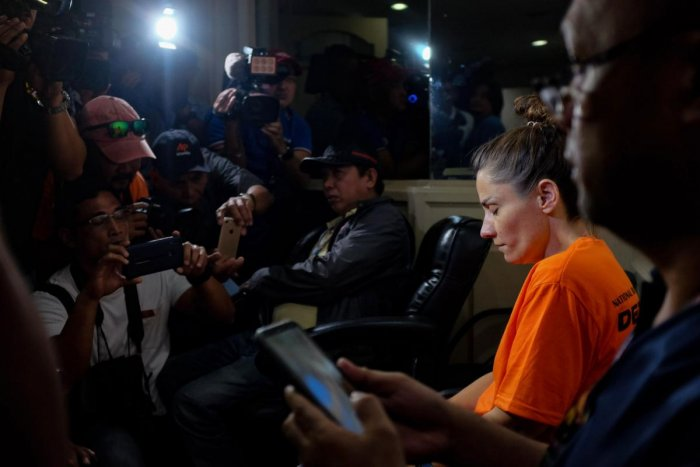 In this photo taken on September 5, 2019, US citizen Jennifer Talbot attends a press conference by the National Bureau of Investigation (NBI) in Manila. (Photo by George CALVELO / AFP)