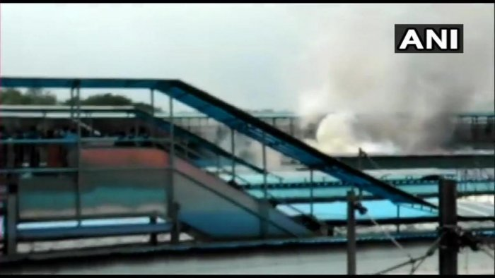 A fire broke out in the rear power car of Chandigarh-Kochuveli Express at platform number. 8 of New Delhi Railway Station/ANI
