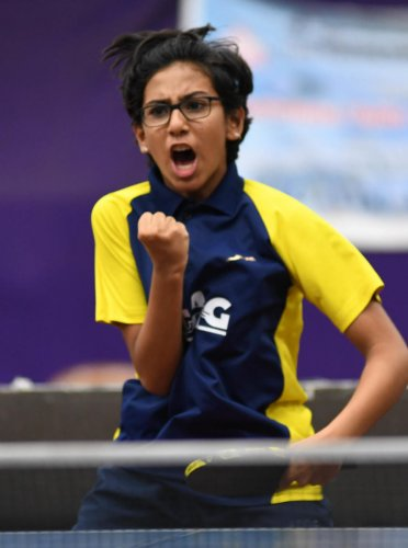 Trupti Purohit, who won the junior girls title in the 4th RS Shakuntala memorial State-ranking table tennis meet on Friday, has been making steady progress. DH PHOTO/ BH SHIVAKUMAR