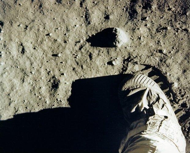 "Edwin ""Buzz"" Aldrin's boot and footprint in lunar soil. (Photo: NASA)"