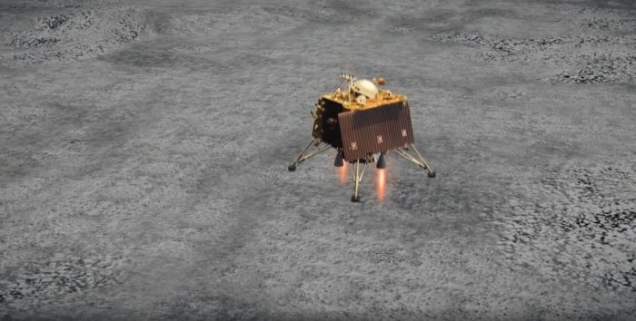 Vikram Lander to desecnt on the Moon on Saturday. (ISRO Video Screengram)