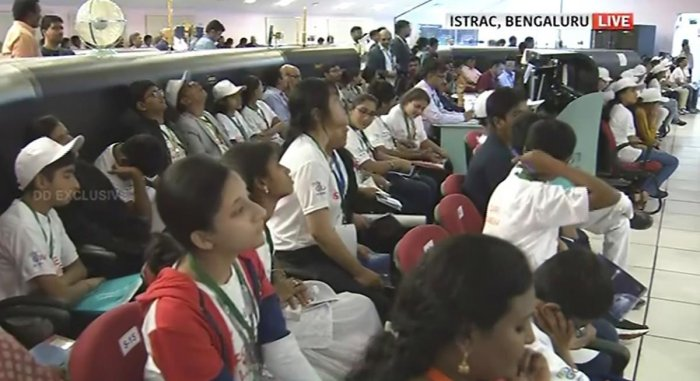 Students watch live telecast of Chandrayaan 2 at ISRO Telemetry Tracking and Command Network (ISTRAC) prior to the soft landing of Vikram module of Chandrayaan 2 on lunar surface,in Bengaluru. (PTI Photo)