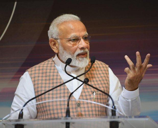 Prime Minister Narendra Modi addresses the scientists at ISRO, in Bengaluru, Saturday, Sept. 7, 2019 (PIB/PTI Photo)