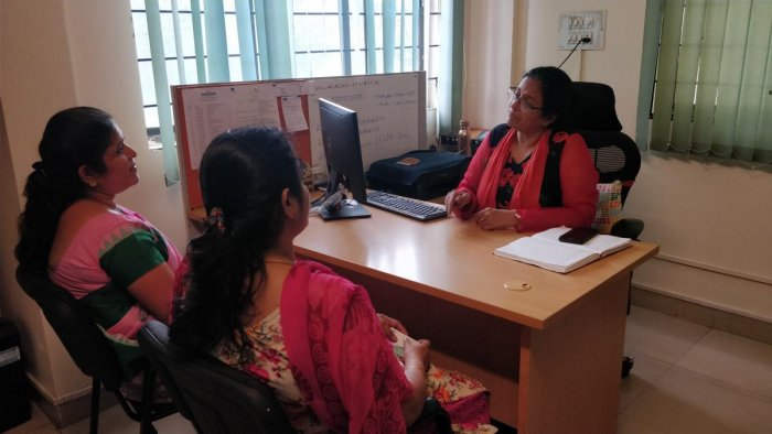 Bharati Singh (in red and black) during a counselling session at Sa-Mudra Foundation.
