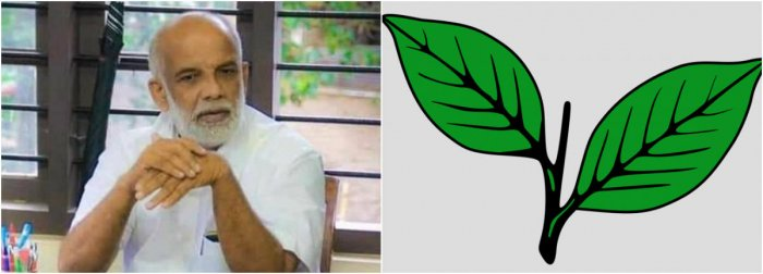 UDF's Pala by-poll candidate Jose Tom Pulikunnel and the two leaves symbol.