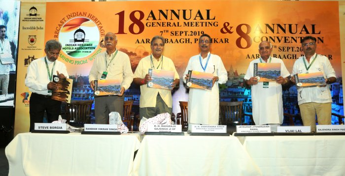 Release of the 5th edition of Coffee Table book of the IHHA at the 8th Annual Convention of the Indian Heritage Hotels Association (IHHA) held at Hotel Aaram Baagh in Pushkar today. DH Photo