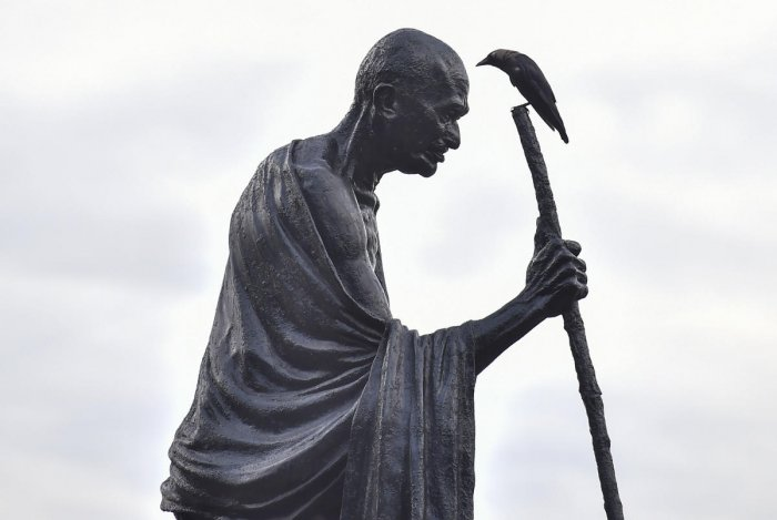 A Mahatma Gandhi statue in Kolkata (PTI Photo)