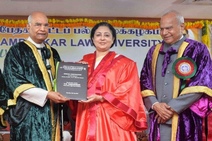 President Ram Nath Kovind presents the LL.D. (Honoris Causa) to Justice VK Tahilramani at a special convocation ceremony at Tamil Nadu Dr. Ambedkar Law University, in Chennai, Saturday. PTI