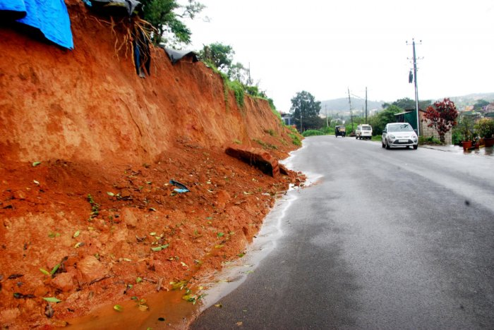 The present condition of the Race Course Road in Madikeri.