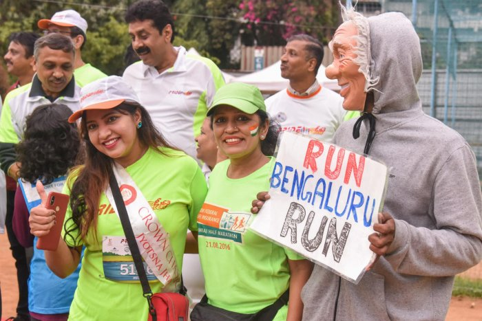 Participants at the Pride Run at the St Joseph's High School grounds on Sunday. DH photo/S K Dinesh