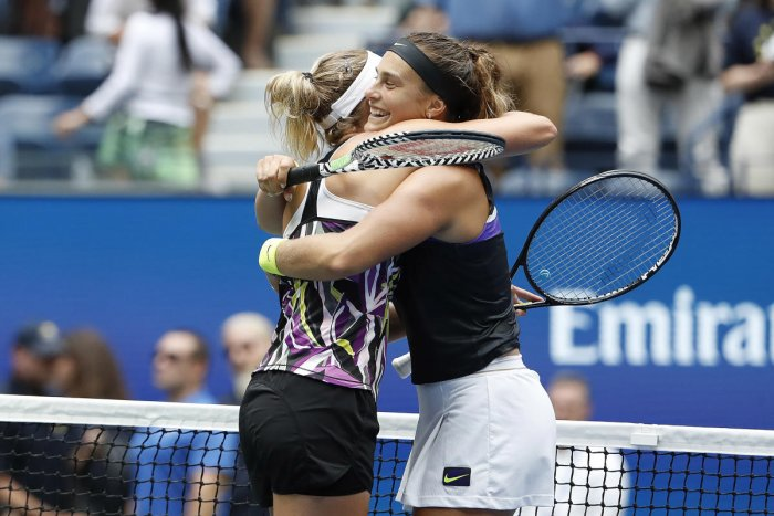 Elise Mertens & Aryna Sabalenka celebrate after their match against Victoria Azarenka and Ashleigh Barty in the women's doubles final at the US Open (Image by USA Today Sports)