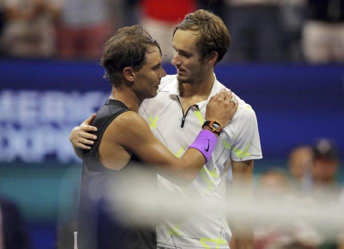 Daniil Medvedev, of Russia, congratulates Rafael Nadal, of Spain. AP/PTI Photo