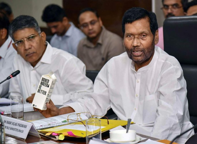 Paswan on Monday held a meeting with bottled water industry and various government departments to find a suitable alternative for single-use plastic bottles for drinking water. PTI file photo