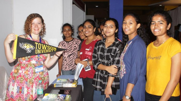 Representative of Towson University interacts with the students during US Education Fair organised at KLE Technological University in association with Yashna Trust in Hubballi on Monday.